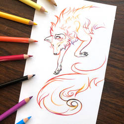 Day 176: Gradient Fox Lineart
