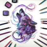 Day 200: Purple and Teal Howling Wolf