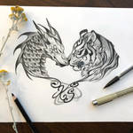 Day 219: Tiger and Dragon Tattoo Design