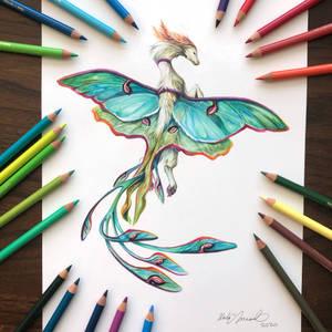 Day 227: Luna Moth Dragon