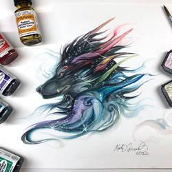 Day 239: Rainbow Galaxy Dragon Wolf