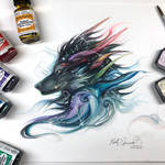 Day 239: Rainbow Galaxy Dragon Wolf