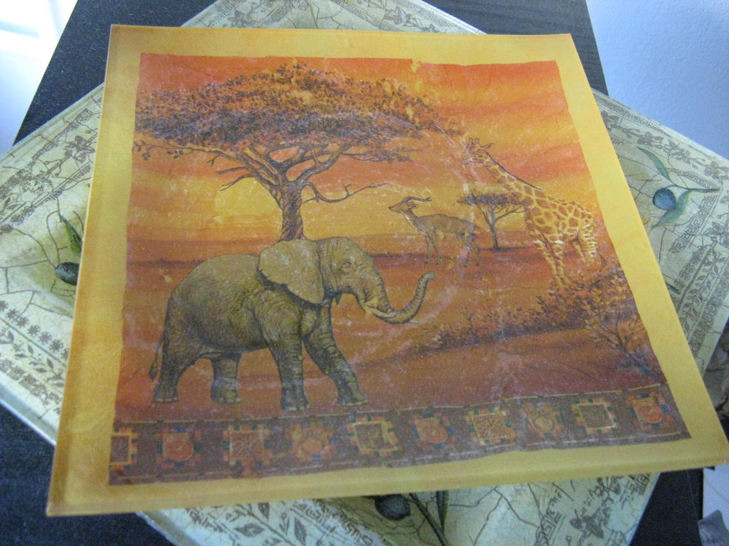 Decoupage plate - Africa by CinnamonBlue