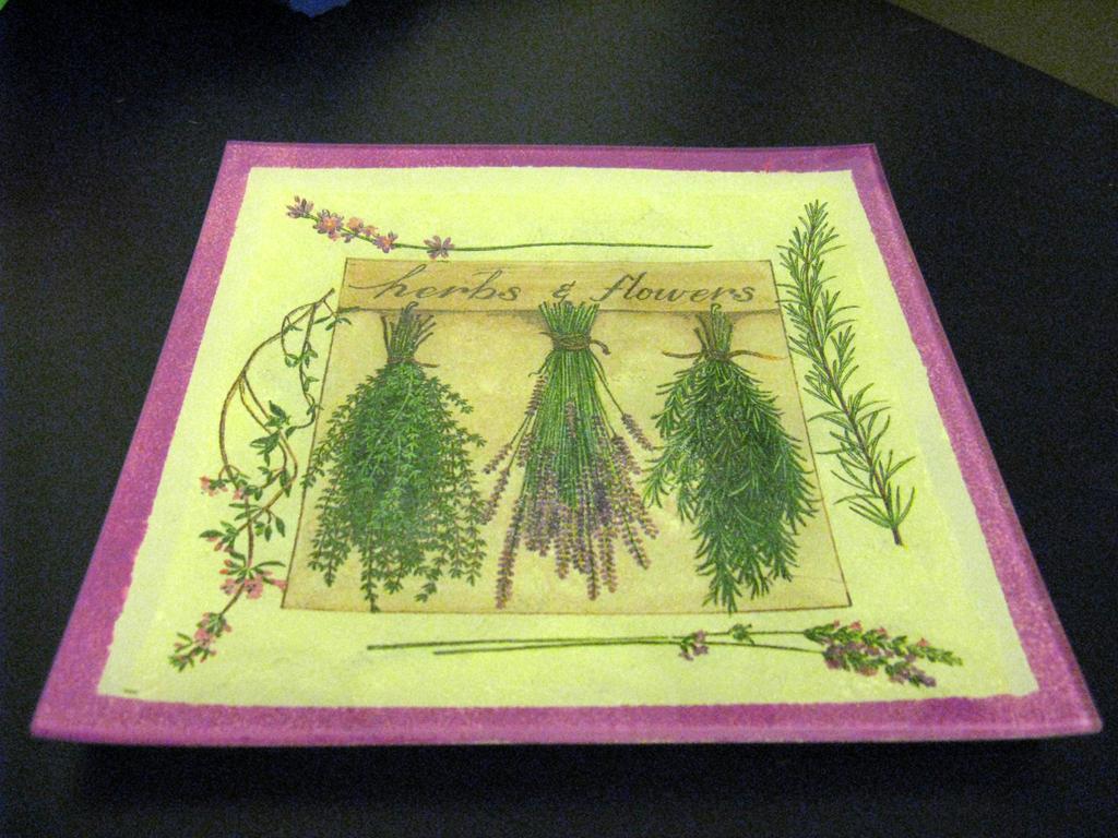 Decoupage plate - herbs by CinnamonBlue
