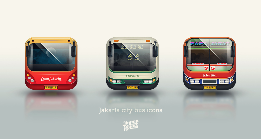 jakarta city bus icons by phig