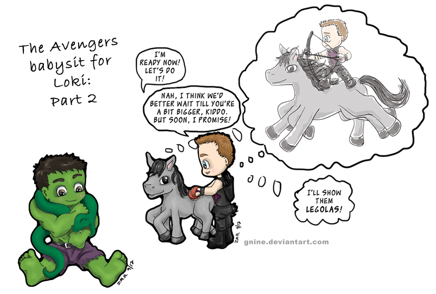 Avengers Babysit for Loki: Part 2 by Gnine
