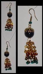 Beaded Tassel Earrings, teal by Catgoyle