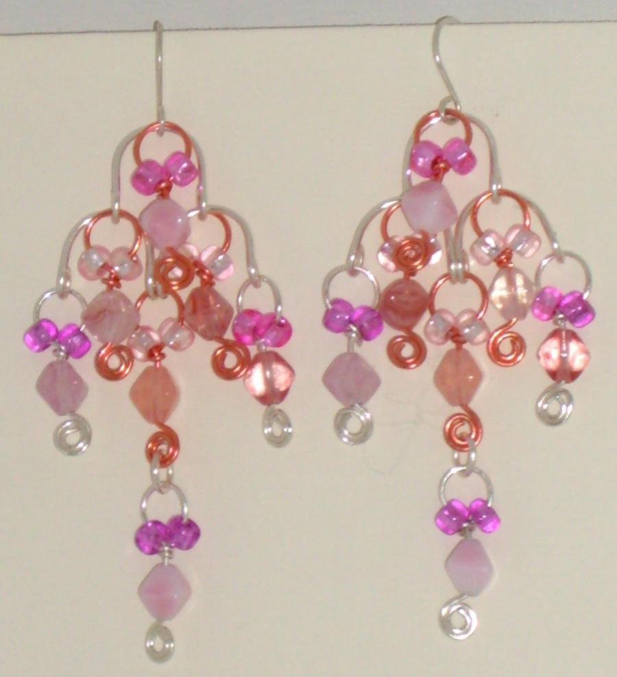 Chandelier earrings, pink by Catgoyle