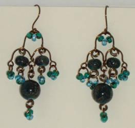 Chandelier earrings, teal