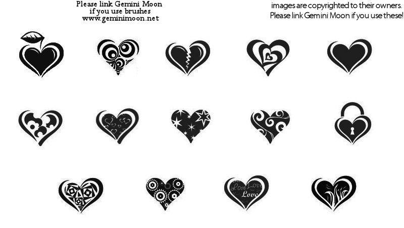 10 heart brushe imagepack