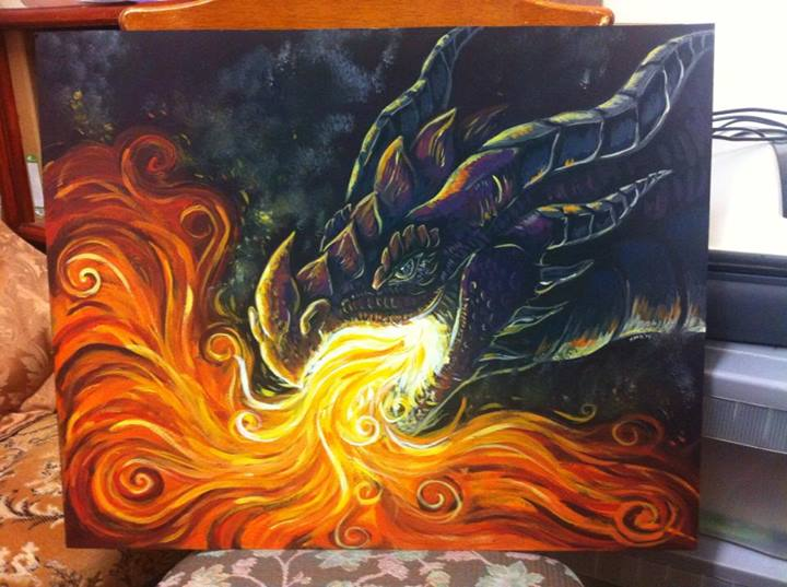 Acrylic dragon by KaceyMeg