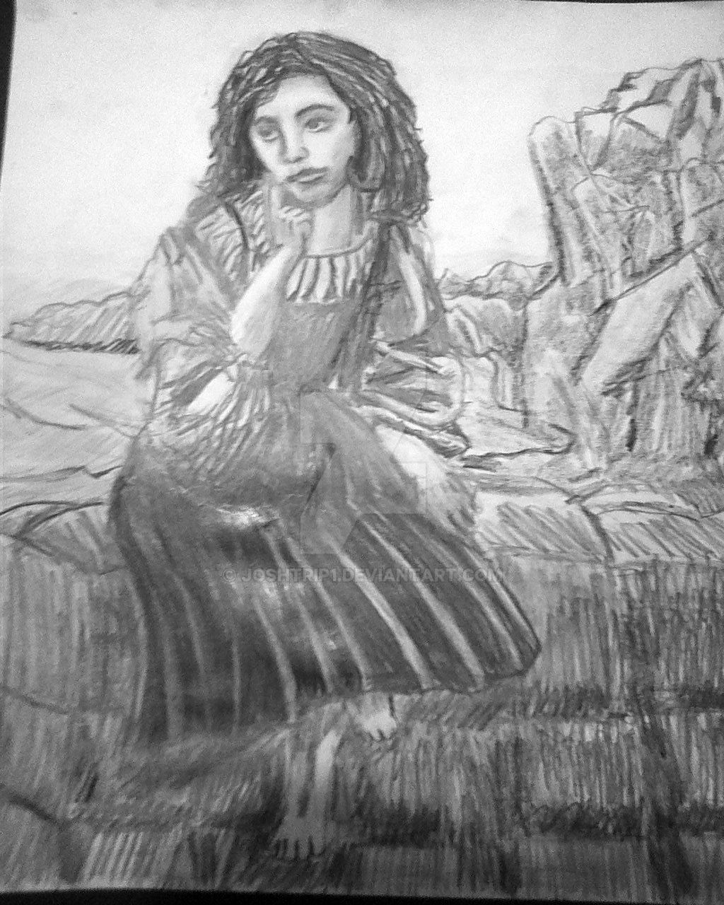 Woman sitting on Stone. by Joshtrip1