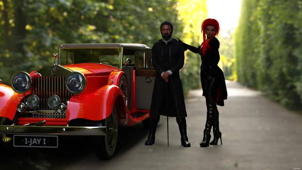 a men, a car and a women