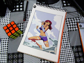 Just Drawing - Starfire in Swimsuit by RandomIndianGuru