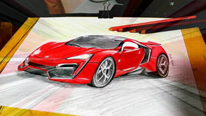 Sketch of Lykan Hypersport car in Fast n Furious 7