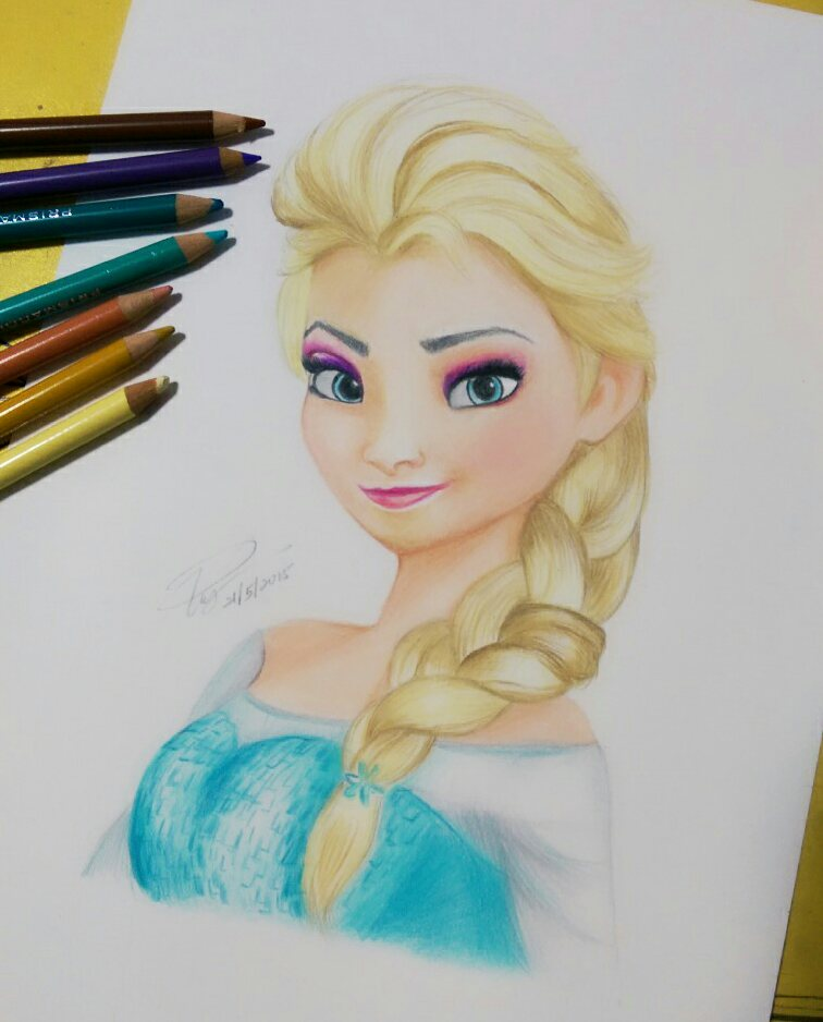 Color pencil drawing of elsa frozen by iicepink