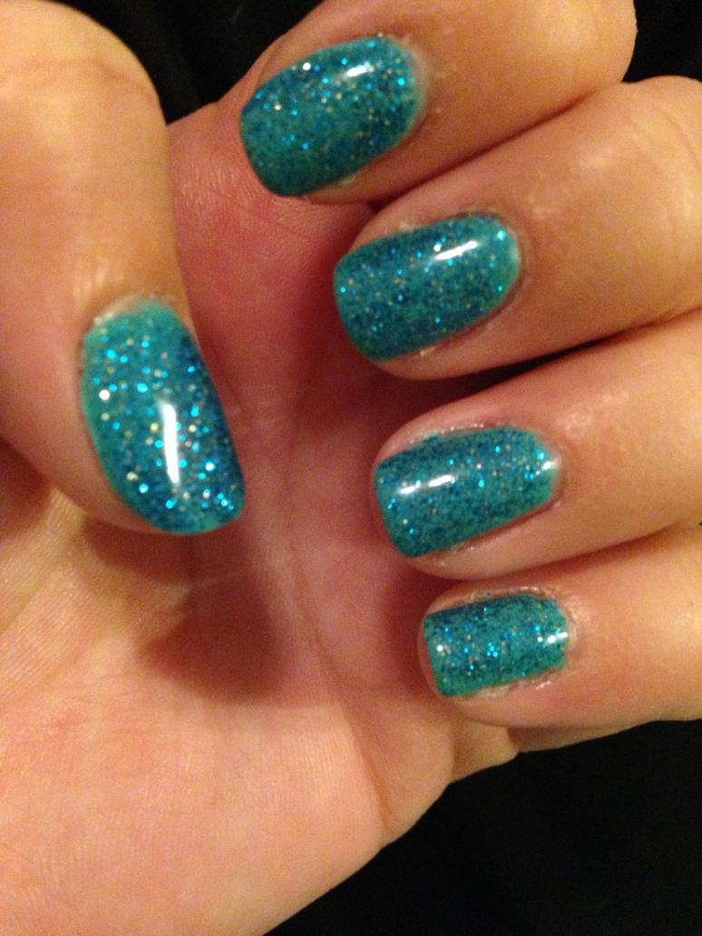 Manicure blue glitter by Tobyana