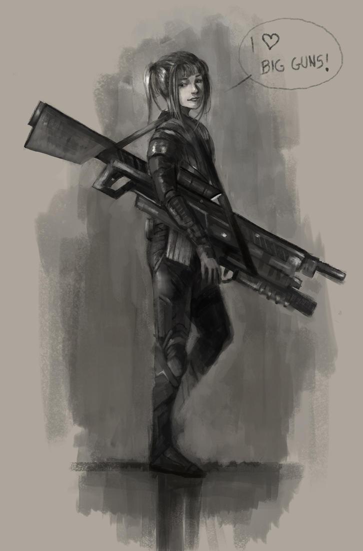 Little Girl - Big Gun by rodmendez