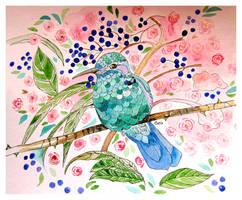 Hummingbird and Roses 111