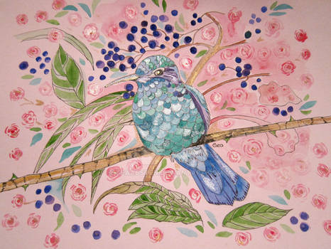 HUMMINGBIRD AND ROSES WITH SHIMMER