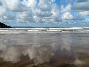 Mirror effect on Westward Ho! beach