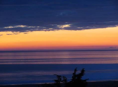 Deep dark sea . at dusk