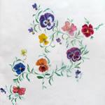 Botanical painting of pansies 11