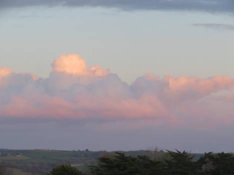 Pink clouds over North Devon