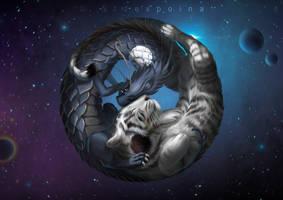 Yin and yang Tiger and Dragon