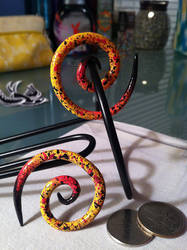 4G/5MM Handpainted Speckle Earrings