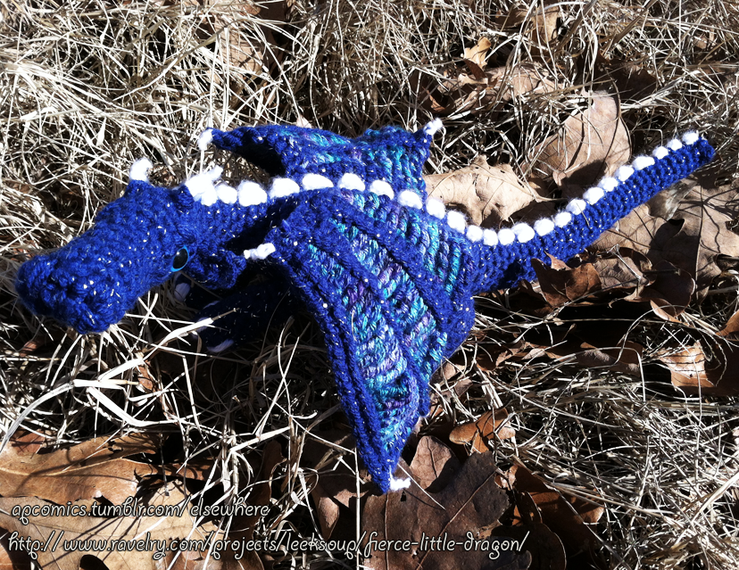 Amigurumi Fierce Little Dragon Outside by MinorTechnicality