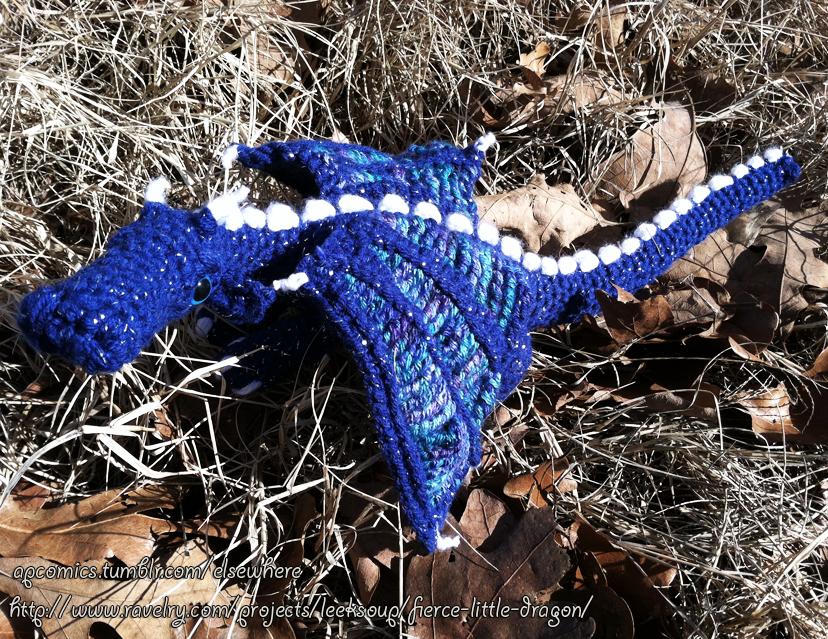 Amigurumi Fierce Little Dragon Outside by MinorTechnicality