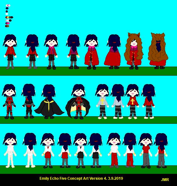 Emily Version 4 costume sets v2 by lorddolzakhyron
