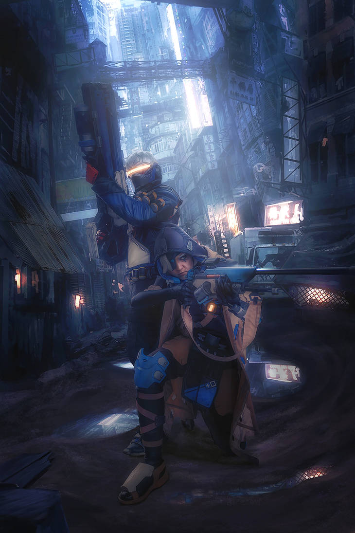 Soldier: 76 and Ana by Akunohako