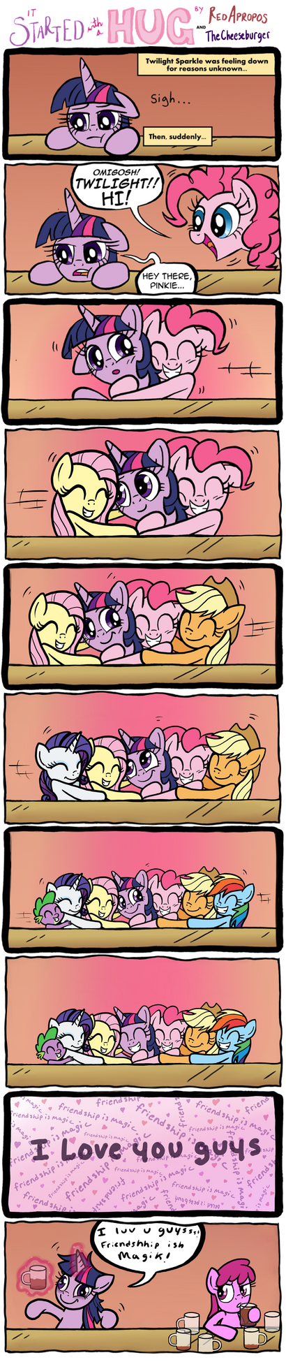 It Started with a Hug by RedApropos and Me by TheCheeseburger