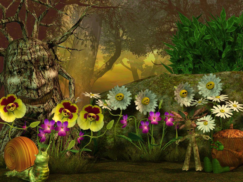fairy garden white wallpaper - photo #49
