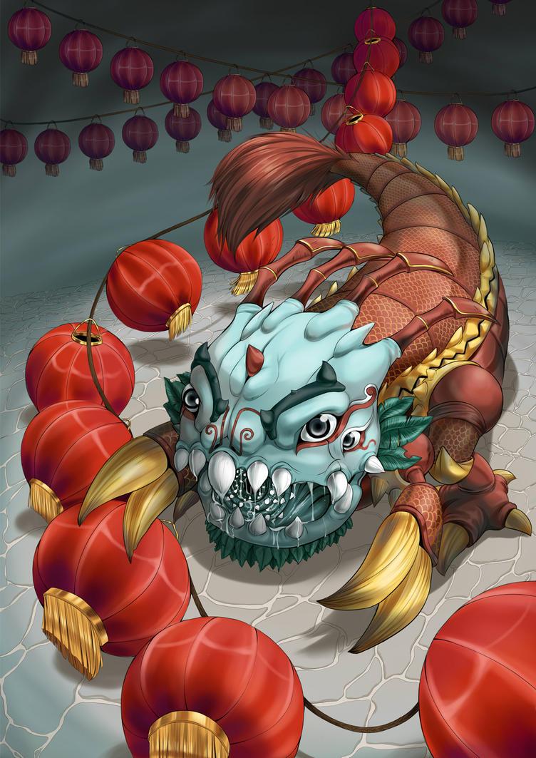 Kog'maw Lion dance skin by Death-by-Papercuts