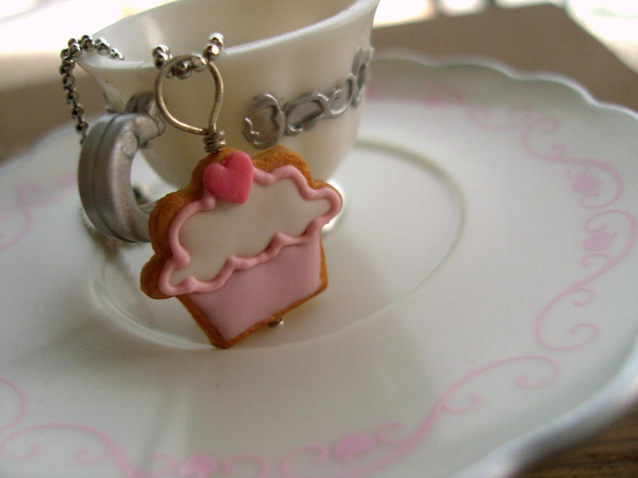 Cupcake Cookie Heart Charm by Snowfern