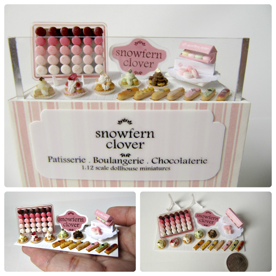 1:12 Scale Miniature Pink Patisserie Display by Snowfern