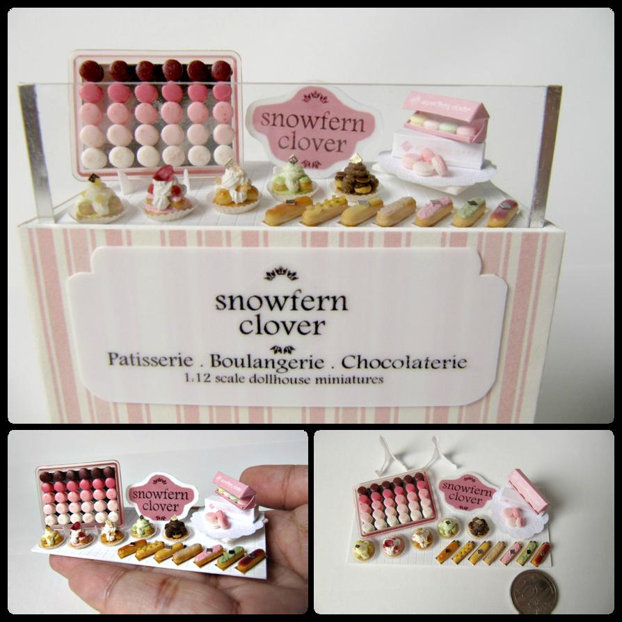 1:12 Scale Miniature Pink Patisserie Display by Snowfern