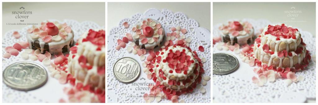 1:12 scale miniature Marie Antoinette cakes by Snowfern