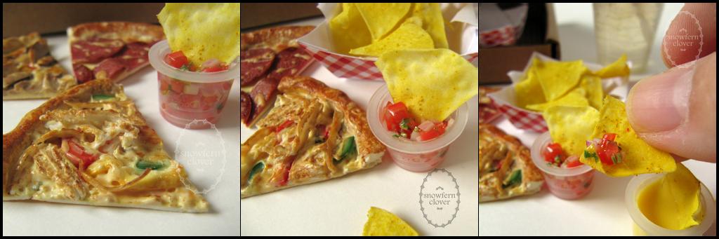 1:3 miniature Roast Chicken Pizza Slice by Snowfern