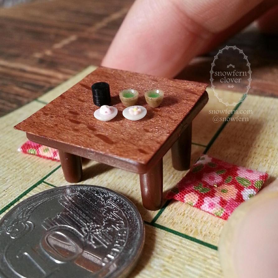 1:48 scale miniature Japanese Tea Setting Items by Snowfern