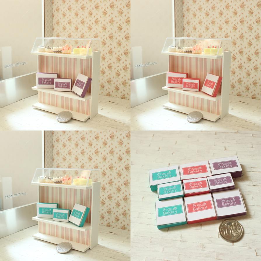 1:12 scale miniature Bakery Box printable by Snowfern