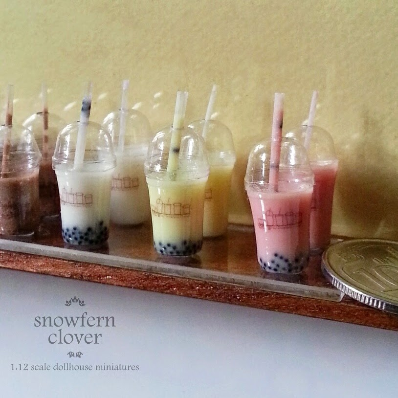 1:12 scale miniature Bubble Tea by Snowfern