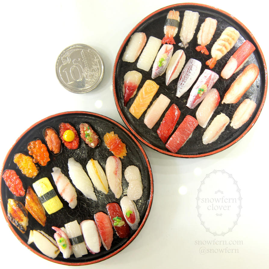 1:6 scale miniature playscale Sushi Platters by Snowfern