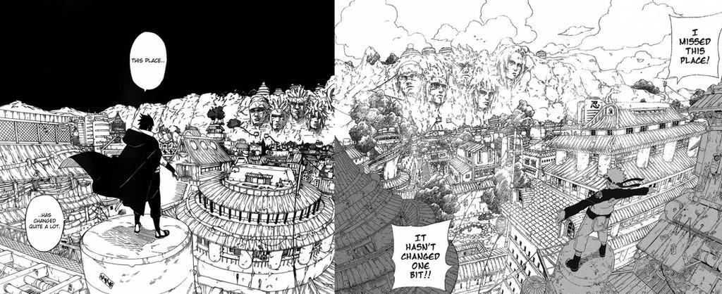 sasuke and naruto in konoha by Bleach-Fairy