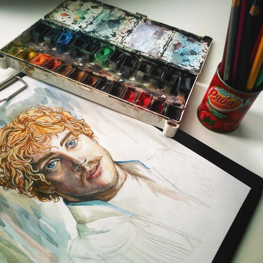 Watercolor/Portrait Vronsky by Marsellia