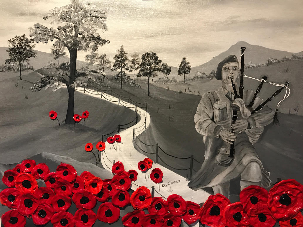 Oil on canvas with acrylic poppies by Davethepioneer