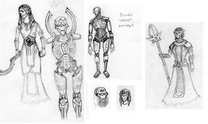 Concept Sketches- Female Necrons